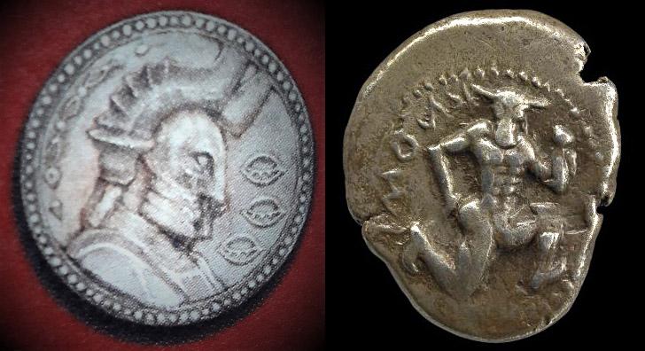 Minotaur and Raubahn coin Encyclopaedia Eorzea Knossos Crete British Museum.jpg